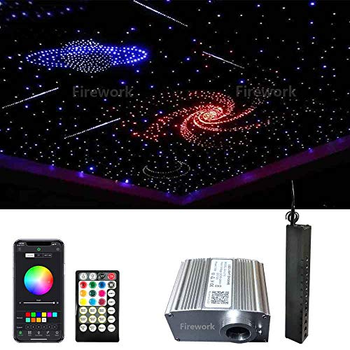 2020 New Upgraded Bluetooth Twinkle Fiber Optic Light Star Ceiling Kit, 10W RGBW APP/Remote Music Mode LED Starlight Headliner for Car or Room 450pcs(0.03in+0.04in+0.06in)13.1ft+Meteor