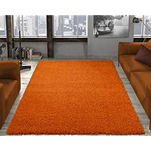 "Ottomanson Collection Solid Shag Rug, 7'10"" x 9'10"", Orange"