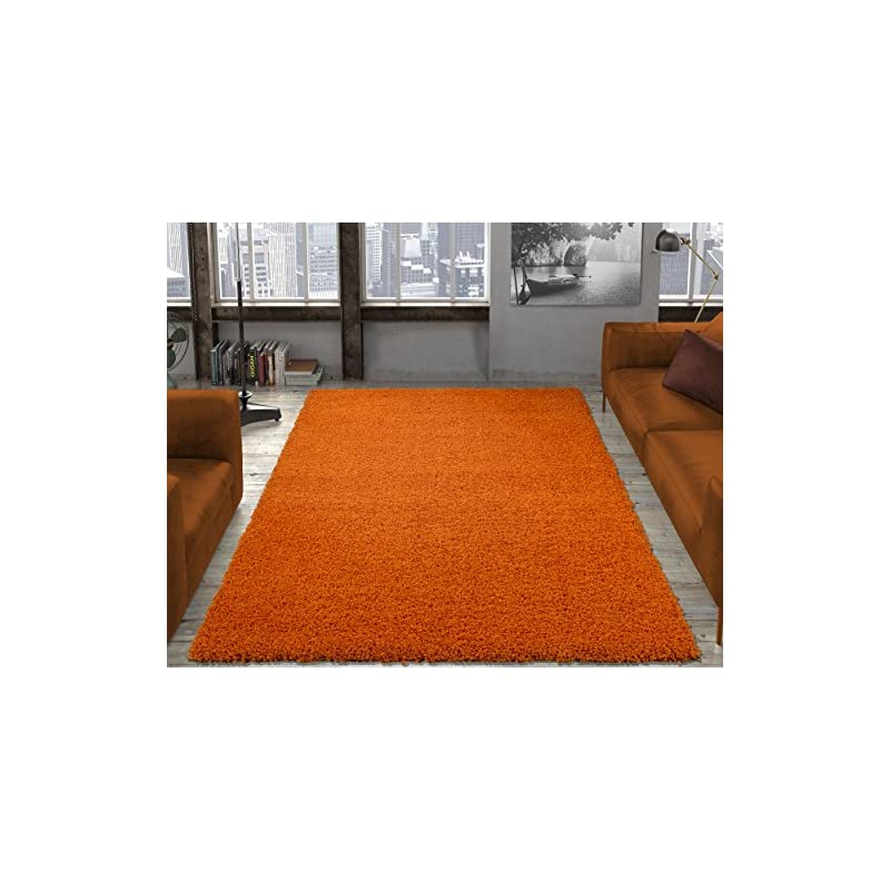 "crib bedding and baby bedding ottomanson collection solid shag rug, 7'10"" x 9'10"", orange"