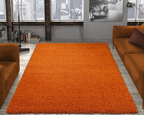 "Ottomanson Soft Cozy Color Solid Shag Area Rug Contemporary Living and Bedroom Soft Shag Area Rug, Orange, 3'3"" L X 4'7"" W"