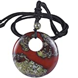 SUNYIK Natural Dragon Bloodstone Lucky Coin Pendant Necklace for Women Men, Healing Crystal Amulet Jewelry for Unisex, Donut Round Shaped, Adjustable 18''-28'' Strand