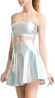 Maxrise Women's Metallic Shiny Off Shoulder Crop Top + Mini Dress Two Piece Outfit Set