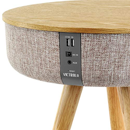 Victrola Bluetooth Wood Speaker Stand with Dual USB Ports, Oak