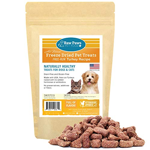 Raw Paws Pet Freeze Dried Turkey Dog Treats & Cat Treats, 4-oz - Made in USA Raw Freeze Dried Dog Treats - Free-Run, Grain, Gluten, Wheat & Antibiotic-Free Turkey Cat Treats - All Natural Pet Snacks
