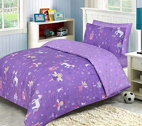 LJ Lujoso juego de funda de edredón para niños, 100% algodón, reversible, juego de cama con sábana bajera a juego (morado unicornio, tamaño doble)