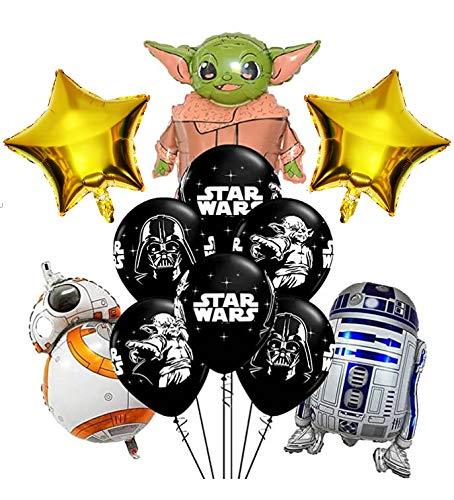 Star Wars Party Luftballons, Star Wars Luftballons Geburtstagsfeierzubehör für Dekorationen, Star Wars Luftballons Party mit 5 Aluminiumfolienballons und 6 Latexballons (Set mit 11 Stück)