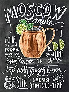 Jacksoney Tin Sign New Aluminum Metal Moscow Mule Wall Sign Wall Kitchen Retro 11.8 x 7.8 Inch