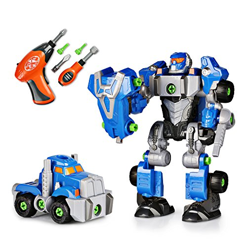 Happkid Cybotronix Take-A-Part Robot for Kids, Pretend Tool Construction Toy Truck Screwdriver Building Set 3-in-1 with Electric Drill (42 Pieces)