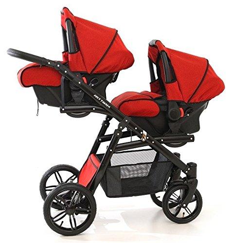 Zwillingswagen. 2 x Buggy, 2 x Babywanne, 2 x Babyschale