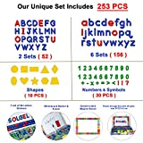SOLGEL 253 PCs ABC MAGNETS EDUCATIONAL TOY KIT: Upper, lowercase magnetic letters and numbers & shapes. Educational refrigerator alphabet magnets for toddlers & kids with magnetic board for preschool.