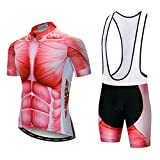 Men's Cycling Jersey Set Men Bike Jerseys and bib Shorts with Gel Paded S-5XL, Breathable Quick-Dry (Red Muscle Bib Set XXL)