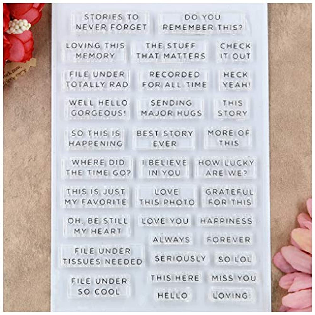 Kwan Crafts Words Letters Love Always Hello Clear Stamps for Card Making Decoration and DIY Scrapbooking