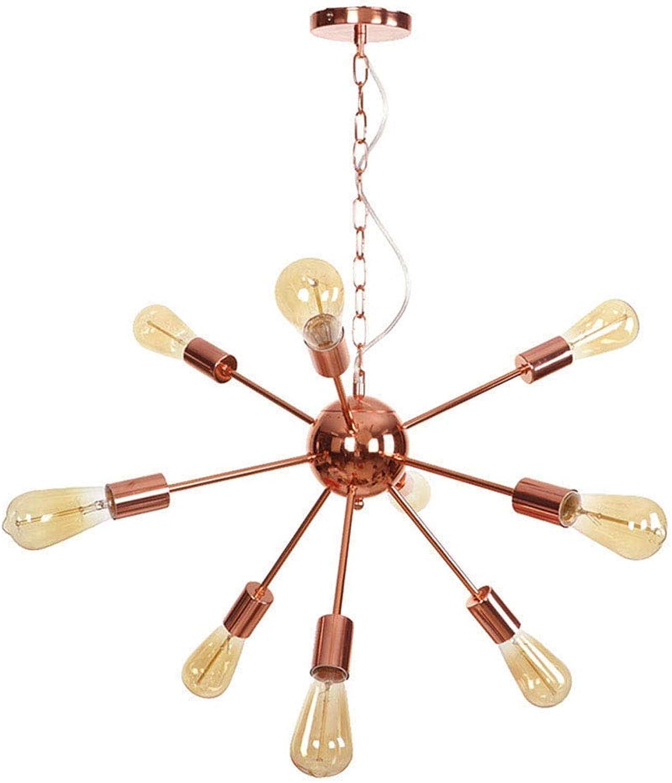 CHHQ 9-Light Sputnik Kronleuchter American Industrial Einfache verstellbare RoséGold-Pendelleuchten für Schlafzimmer-Wohnzimmer-Dachboden-halb eingebettete Deckenleuchte