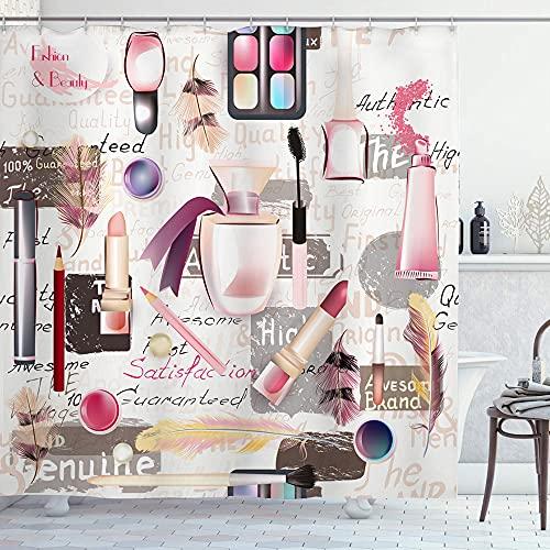 Alvaradod Cortina de la Ducha,Moda Acuarela Cosméticos Maquillaje Lápiz Labial Perfumes y Sombras de Ojos,con 12 Ganchos de plástico Cortinas de baño Decorativas 72x84 Pulgadas