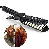 6 dientes ondulados ondulados herramienta de peinado para alisar el cabello, temperatura ajustable, cerámica turmalina recta clip