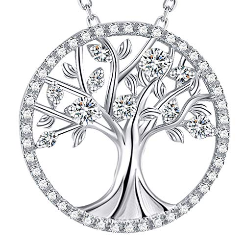Tree of Life Necklace for Mom Wife Birthday Gifts Daughter Mother Simulated Diamond April Birthstone Necklace Sterling Silver