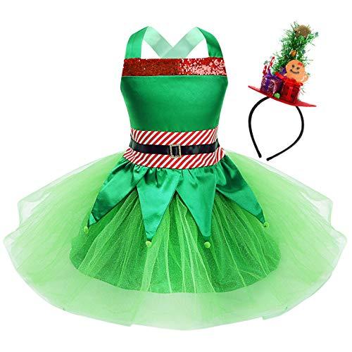 IEFIEL Halloween Cosplay Disfraz de Elfo Elfa Niña Tutú Vestido de Duende Lentejuelas Brillante con Sombrero Gorro Traje de Navidad Xmas 2-12 Años Verde-Rojo 6 años