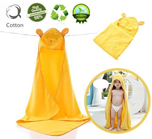 Toallas de Baño Bebe, Morbuy Toalla Niño con Capucha Antibacteriana e Hipoalergénica Extra Suave para Mantener el Bebé Calentito y Cómodo Para Niños Niñas 0-6 Años (Amarillo)