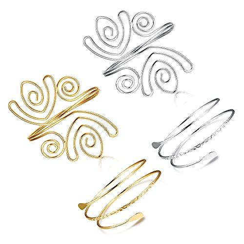 JOERICA 4Pcs Coil Arm Cuff Open Upper Armband Bracelet for Women Adjustable Filigree Swirl Armlet Bangle Costume Jewelry