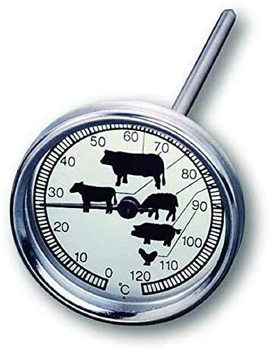 TFA Dostmann Analoges Bratenthermometer, aus Edelstahl, Fleischtermometer, Haushaltsthermometer, Backofen oder Grill, hitzebeständig