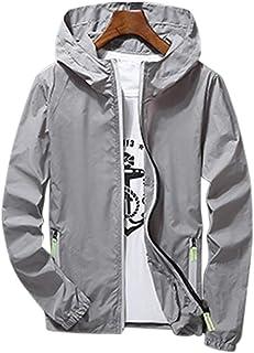 PinShang Men/Women Waterproof Windbreaker Jacket Hoodie Casual Sports Outwear Coat gray XXL
