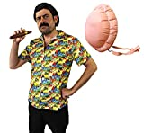 ILOVEFANCYDRESS Disfraz DE Pablo Escobar - Camisa Hawaiana Amarilla + Peluca + Bigote + CIGARRO + Barriga Inflable PELÍCULAS DE TV Disfraces DE SEÑOR DE Las Drogas - TAMAÑO: PEQUEÑO
