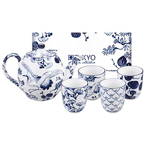 TOKYO Design studio Flora Japonica theeset blauw-wit, 5-TLG, 1x theepot 1,25 l en 4x theekopjes 170 ml, Aziatisch porselein, Japanse bloemendesign, incl. geschenkverpakking