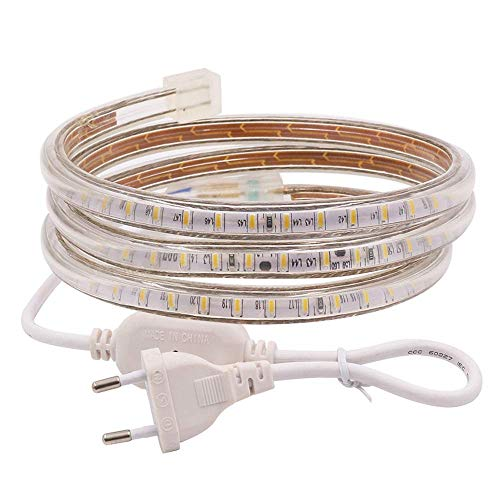 XUNATA Striscia LED, 2m, Luce Bianco Caldo, 220V SMD 3014, 120 LEDs/m, IP67 Impermeabile, Flessibile Striscia a LED Moderno per Cucina Scala Soffitto Tetto
