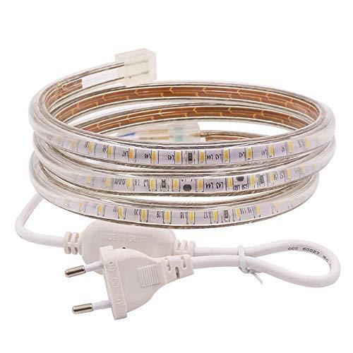 XUNATA 2m 220V Tiras LED, SMD 3014 120LEDs/m, IP67 Impermeable, Escalera de Techo Blancas Tira de LED Cocina Cable Luces LED Blanco calido