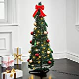 LampLust Pop Up Christmas Tree with Lights - 4Ft, Collapsible for Easy Storage, 100 Warm White Lights, 24 Holiday...
