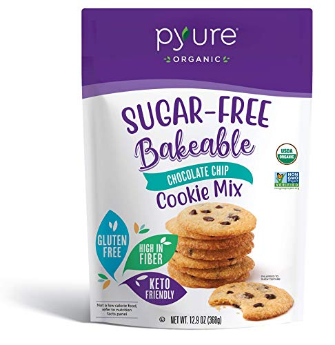 Organic Chocolate Chip Cookie Mix by Pyure | Sugar-Free, Keto, Low Carb | Bakeables | Makes 16 Cookies