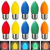 Pack de 10 bombillas de colores LED, 1 W, E27, bombillas de colores surtidos, rojo, verde, azul, naranja, amarillo, decoración para fiestas, balcón, boda, Navidad