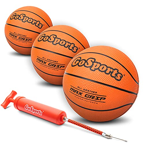 GoSports 7' Mini Basketball 3 Pack with Premium Pump - Perfect for...