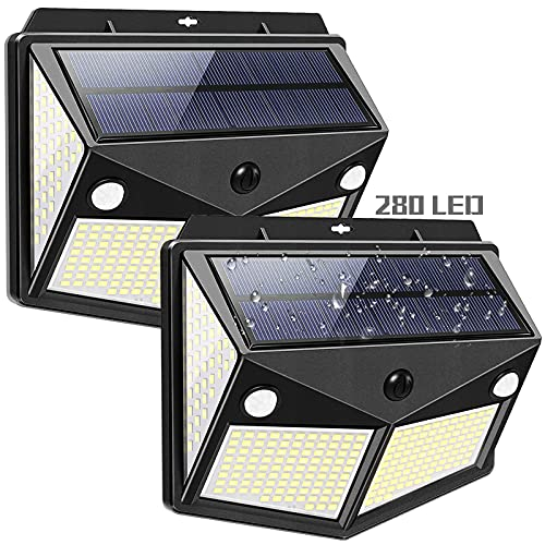 280 LED Solar Lights Outdoor with 300° Wide Angle, Motion Sensor Outdoor Lights with 3 White Lighting Modes, IP65 Waterproof Motion Sensor Light Outdoor for Garden, Yard, Flood, Garage & Patio