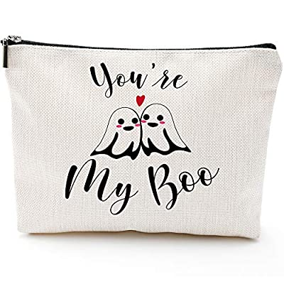 you my boo,halloween lovers gifts,halloween gifts for women, for daughter wife, couple, girlfriend, lover,Halloween Gifts- Cosmetic Bag