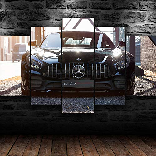 VYQDTNR - 5 Panel Wall Decor Oil Painting Canvas 3D Abstract Paintings Mercedes GTR Edo Racing Car Modern Home Decor Wall Art for Living Room Framed Ready to Hang