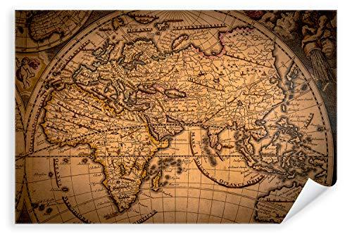 Postereck 3336 - Poster & Leinwand, Landkarte rustikal Retro alt Weltkarte Antik Größe Leinwand -...