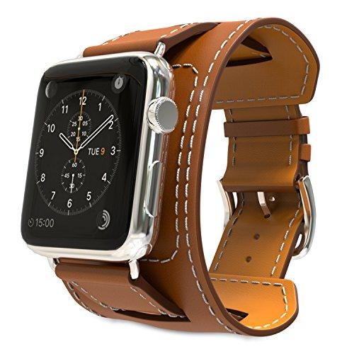MoKo Cinturino per Apple Watch 42mm 44mm Series 5/4/3/2/1, Braccialetto Morbido di Polsino di Ricambio in Vera Pelle per Apple Watch 42mm 44mm Series 5/4/3/2/1, Marrone