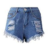 N\P Agujero Borla Borde Denim Cintura Alta Pantalones Cortos Pantalones Calientes Mujer