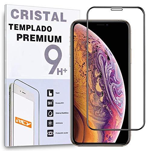 REY - Protector de Pantalla Curvo para iPhone XR - iPhone 11, Negro, Cristal Vidrio Templado Premium, 3D / 4D / 5D