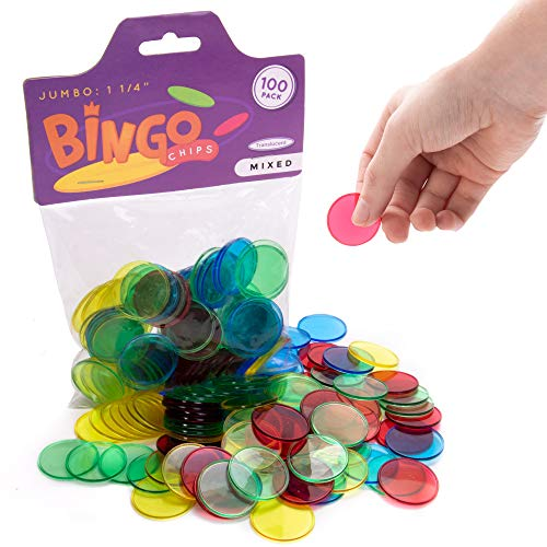 """100 Jumbo 1.25"""" Bingo Chips for Large Print Cards - Educational STEM Resource - Kids Classroom Large Translucent Colored Counting Markers for Elementary and Early Childhood Math Games"""