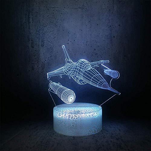 Lámpara de ilusión 3D, luz de noche LED, caza, lanza misiles, regalos en forma para militares, mejores regalos de cumpleaños y vacaciones para niños