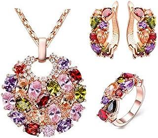 طقم مجوهرات من الزركون يتضمن عقد وخاتم وقرطين