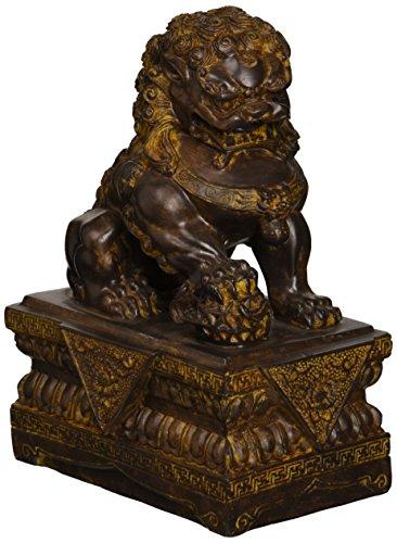 Design Toscano Chinesische Wächterlöwen-Statue, Männlich, 18 x 4,5 x 23 cm