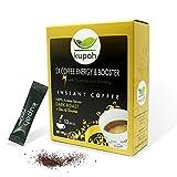 Cafe soluble natural extra fuerte   Kupah Energy Booster   12 sobres x 3 g   36g   Aumenta la Energía   Guarana y Ginseng   Tostado artesanal