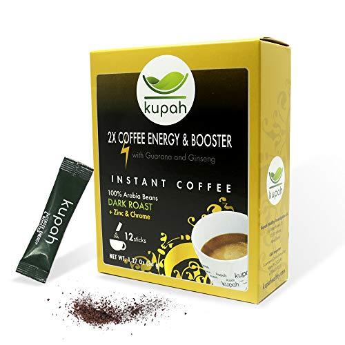 Extra starker Instant-kaffee   Kupah Energy Booster   12 Beutel 3g   36g   Energy Booster Guarana und Ginseng   Handwerkliche Röstung   Schnellkaffee sticks