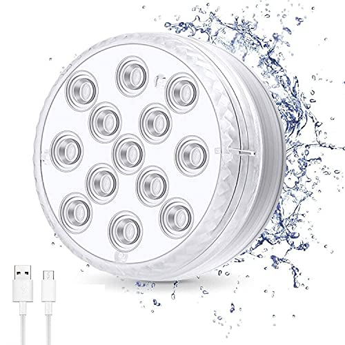 ORSIFOW Luces de piscina recargables, 16 luces sumergibles RGB-13-LED de colores con control remoto RF e IP68 impermeable para base de jarrón, piscina, acuario, estanque, fiesta decoración (1 paquete)