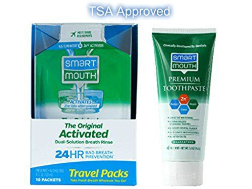 TSA Approved Travel Toothpaste and Oral Rinse, SmartMouth Original Activated Oral Rinse Travel Packs and Travel Size Premium Toothpaste, 3.4 Ounce