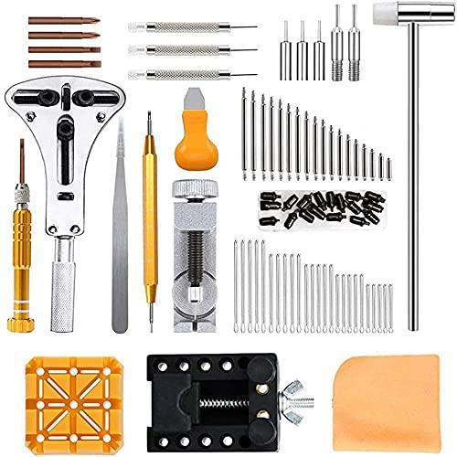KONGWU 210-teiliges Uhren-Reparatur-Set, professionelles Federsteg-Werkzeug-Set, Uhrenbatterie, Ersatz-Kit, Uhrenglied-Entfernungs-Kit mit Tragetasche, erstaunlich