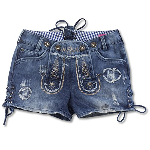 Krüger Damen Trachten Jeans Shorts Hotpants MADL, Farbe:Denim;Größe:44
